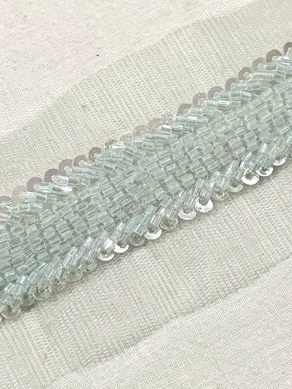 Soft Blue beaded trim, hand embroidered trim, Home decoration trim, Fashion trim,sash trim,Sari border, Fashion trim.