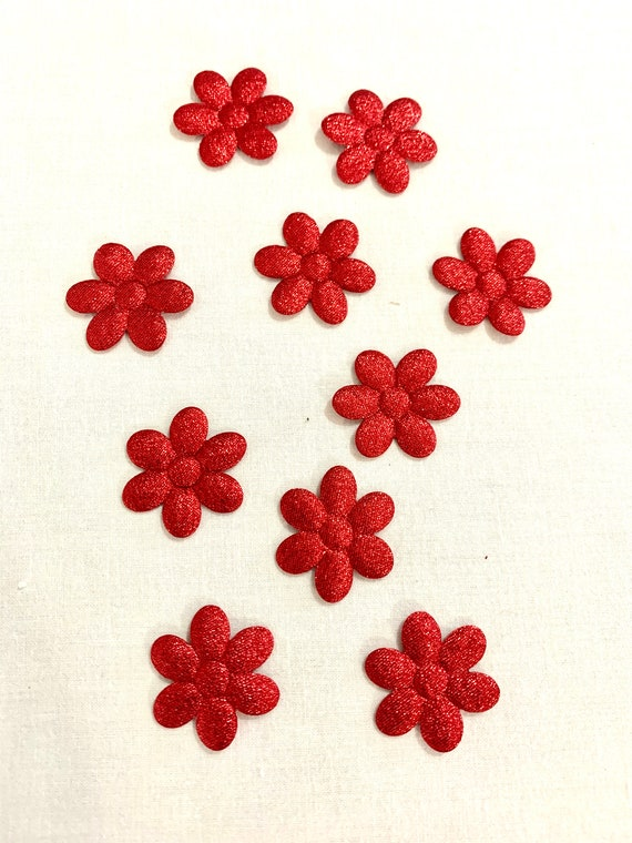 Red tinselled Flowers, Set of 10 Spongy Fabric Flower Appliques, Floral Decorative Clothing Craft Sewing Patches;