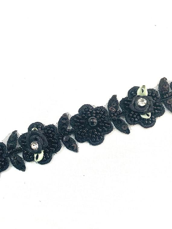 Black beaded trim, Black Hand embroidered floral trim, jewellery making trim, Fashion trim, Home decoration trim.