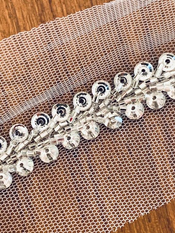 Silver Hand Beaded Net Trim, Crystal Sequins Tube Bead Work, Indian Saree Border, Zari Belly Dance Costume Edge, Boho Fashion, Sewing Trim