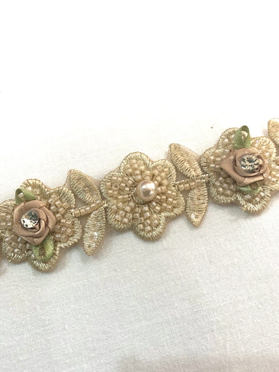 Beige beaded trim, Beige Hand embroidered floral trim, jewellery making trim, Fashion trim, Home decoration trim.