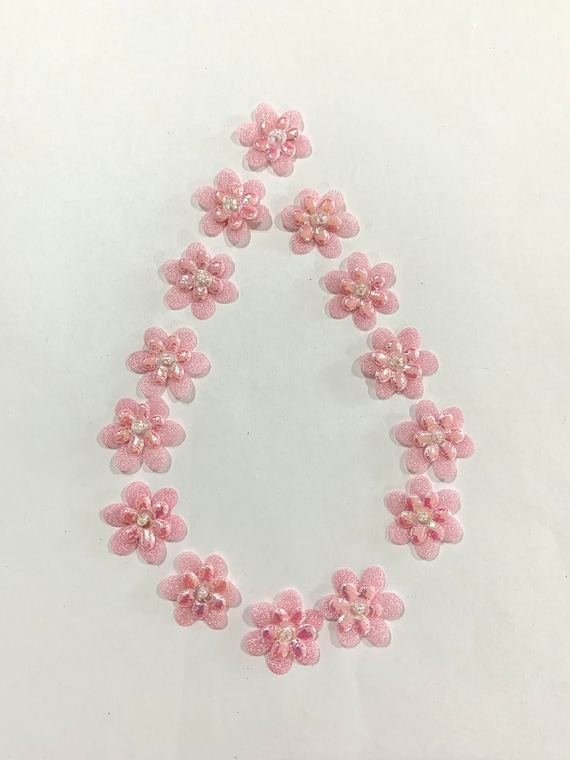 Small Pink fabric Flowers,Glittering pink Flowers, pink layered flowers