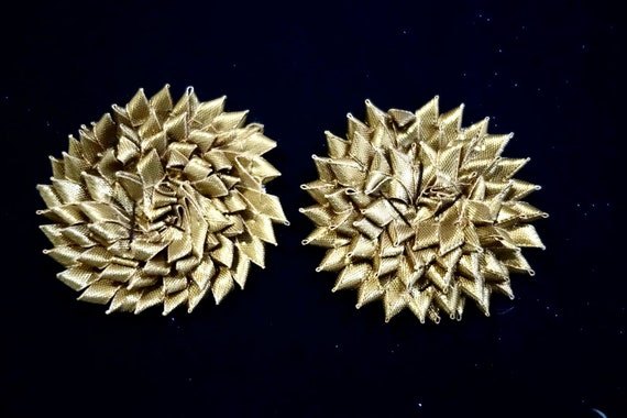 Hand Sewn Star Flower Decorative Applique with Gold Metallic Ribbon