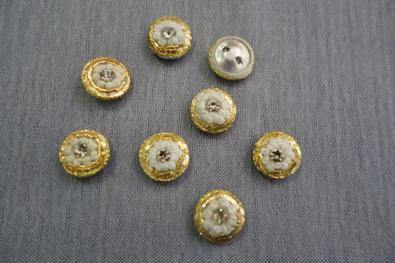 Crystal Buttons - Hand Embroidered Button - White Gold Buttons - With Central Crystal - Ideal for Special Occasions and Everyday Wear