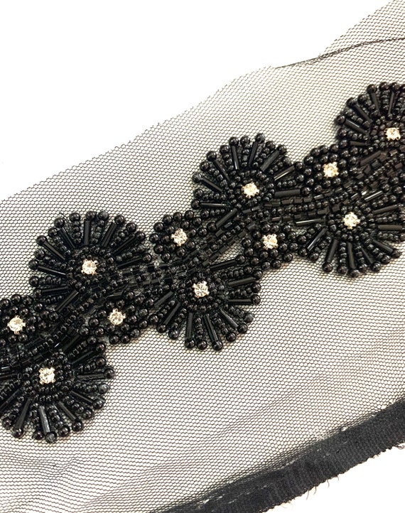 Black Hand Embroidered Net Trim, Round Tube Beads, Crystal Embroidery, Traditional Indian Saree Border, Belly Dance Costume Boho Sewing Trim