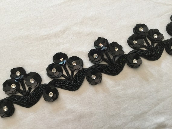 3 Dimensional Black Trim with Cut Work, Beads, Sequins, Discs & Central Rhinestones