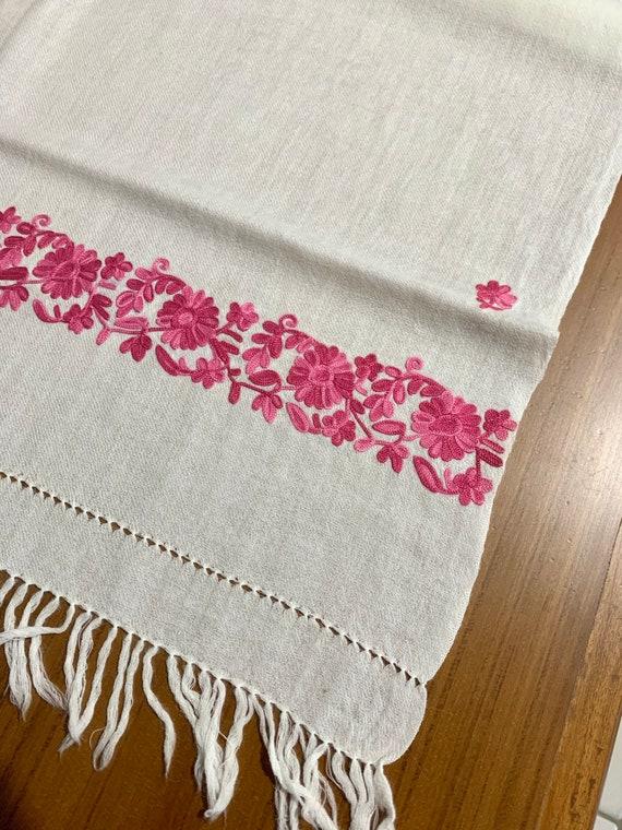 White n pink woollen shawl,Hand Embroidered Wool Shawl, women fashion shawl, cream colour with pink floral embroidered wool shawl.