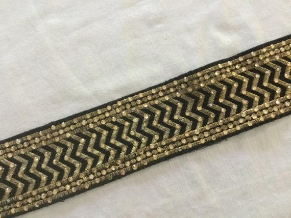 Black Gold Zig Zag Suede Trim with Golden Metallic Thread & Crystals