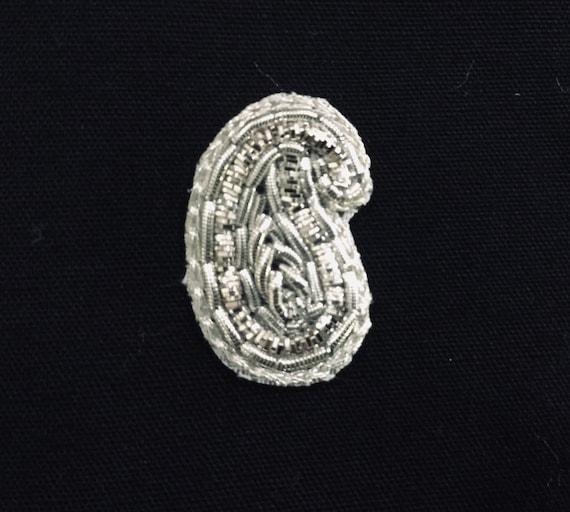Sliver Applique - Bridal Applique - Embroidered Applique - Wedding Applique - Embroidered With Silver Zardosi Threads