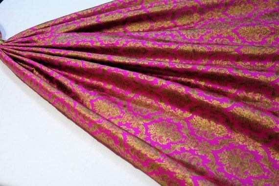 Hot Pink Art Silk Fabric - Vintage Gold Brocade Fabric - Wedding Gown Fabric - Evening Gown Fabric
