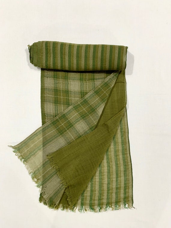 3 in one wool scarf, olive green 3 layers wool scarf, Plain n strip n check soft woollen scarf, His and Her scarf,, Designer woollen scarf.