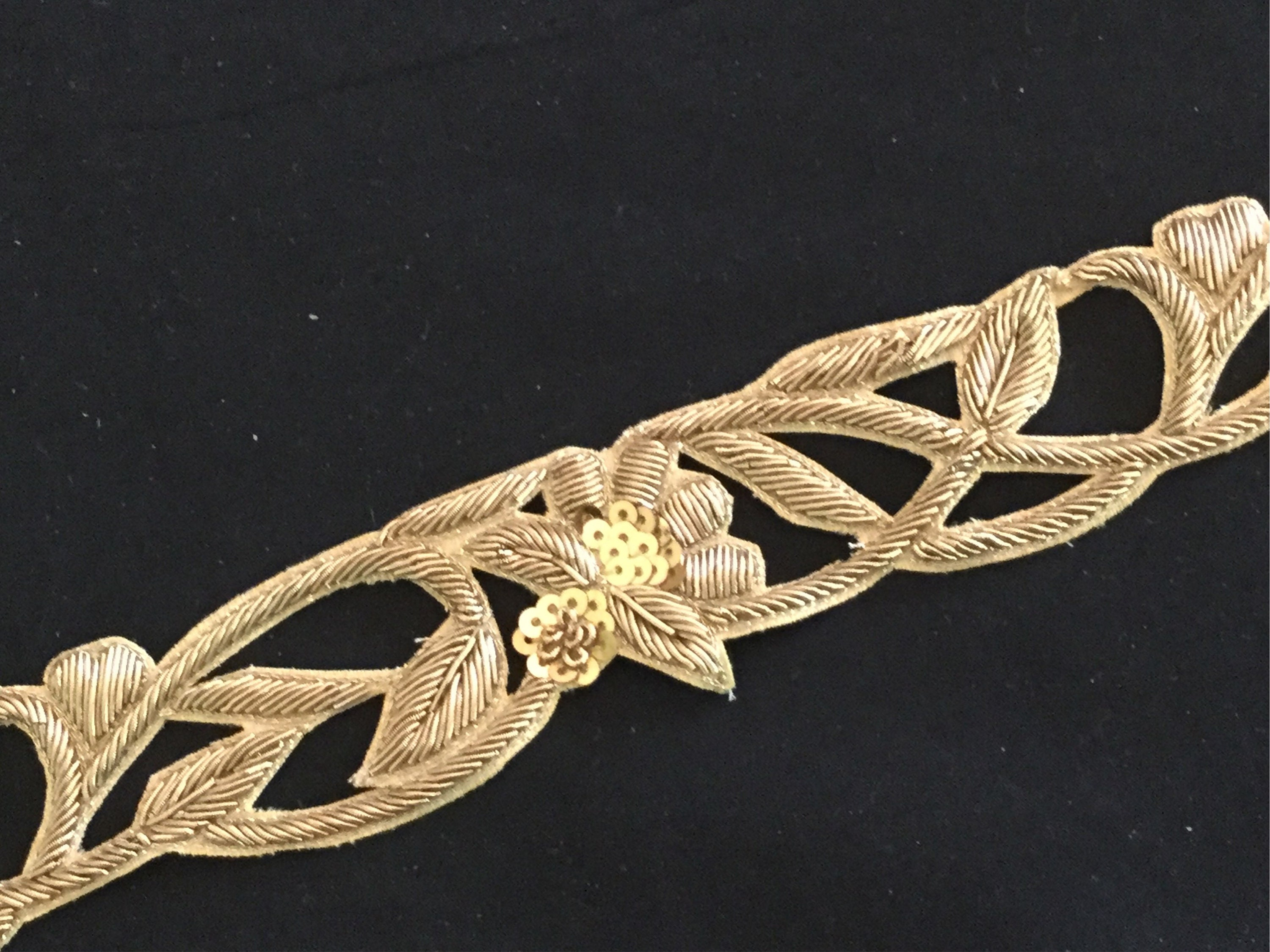 Antique trim gold green purple vintage trim floral gold never used trim one yard old mercantile store trim