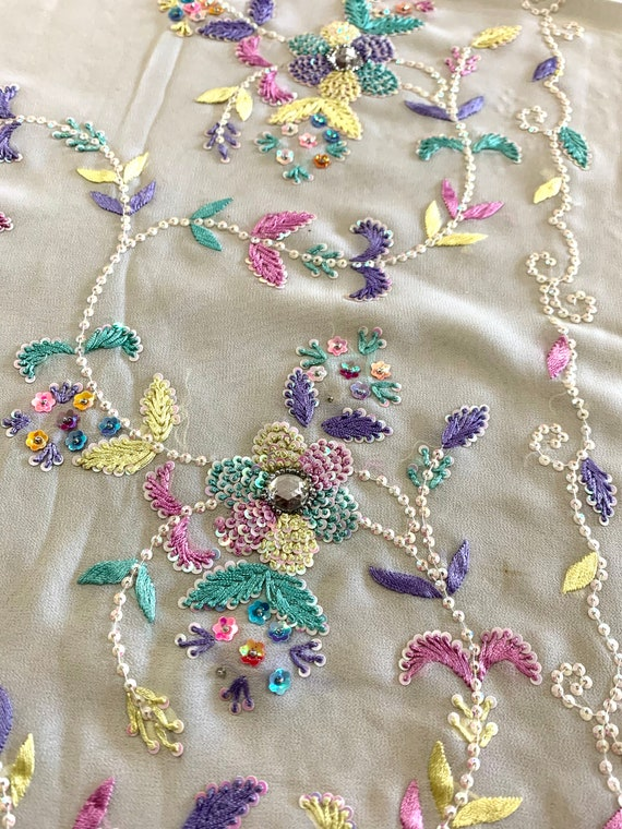White Georgette Sari,Hand embroidered with Rainbow silk thread Rhinestone  Saree, Traditional Style Indian Dress, Sewing Fabric