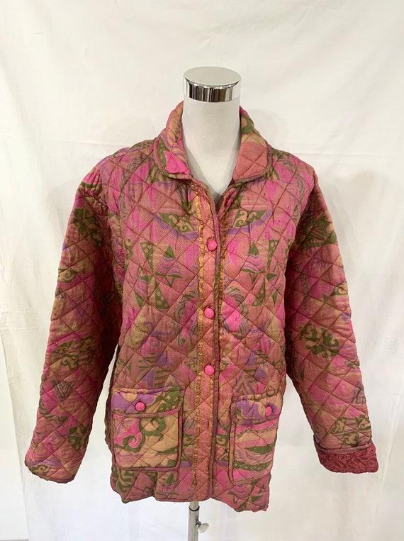 Pink silk Jacket, large size quilted Silk Jacket, vintage silk Saree jacket, supper soft n light Jacket, winter n spring Jacket.