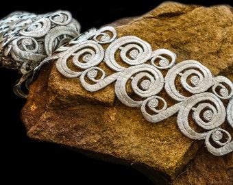 Silver metallic thread swirls applique trim