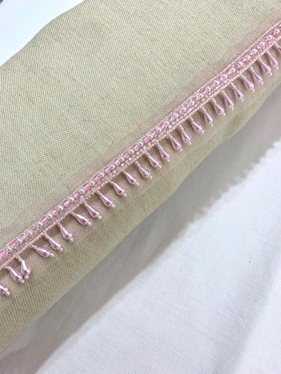 Soft pink bead fringed trim, soft pink pearl trim, hand beaded trim, pink hand embroidered trim, Edging trim, hanging beads trim, party trim