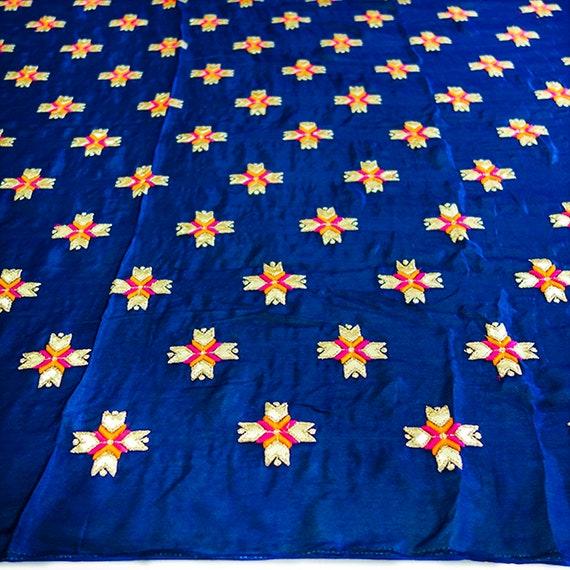 Navy Blue Chinon Silk Fabric - Navy Blue Beads Fabric - Silk Fabric - With Silken Threads & Golden Ribbon