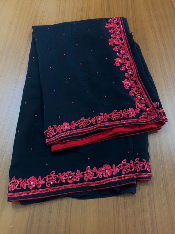 Black Embroidered Georgette Sari + 1 metre Blouse,Red hand embroidered Saree, Traditional Indian Dress, Sewing Fabric