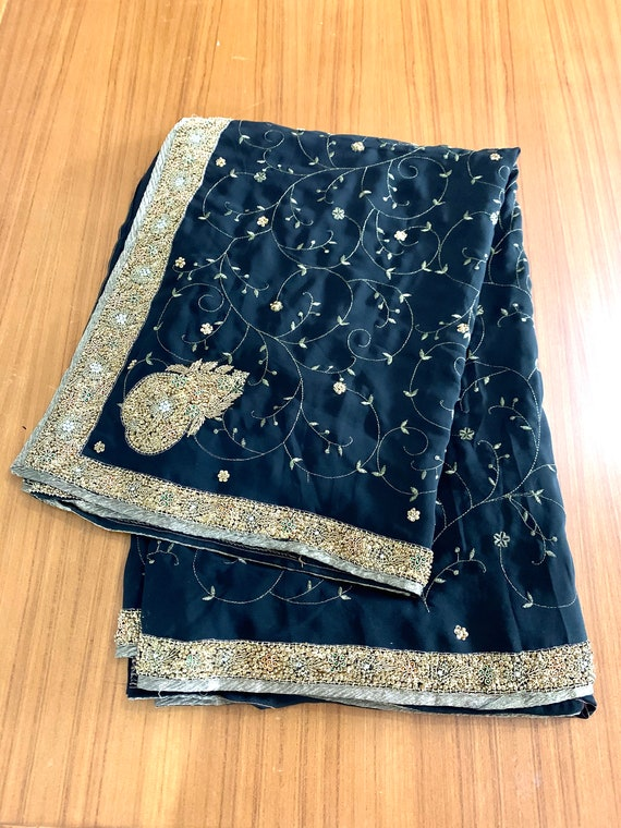 Black embroidered Georgette Sari, Gold Zardosi Thread Work, Hand Beaded Bordered Saree, Traditional Style Indian Dress, Sewing Fabric