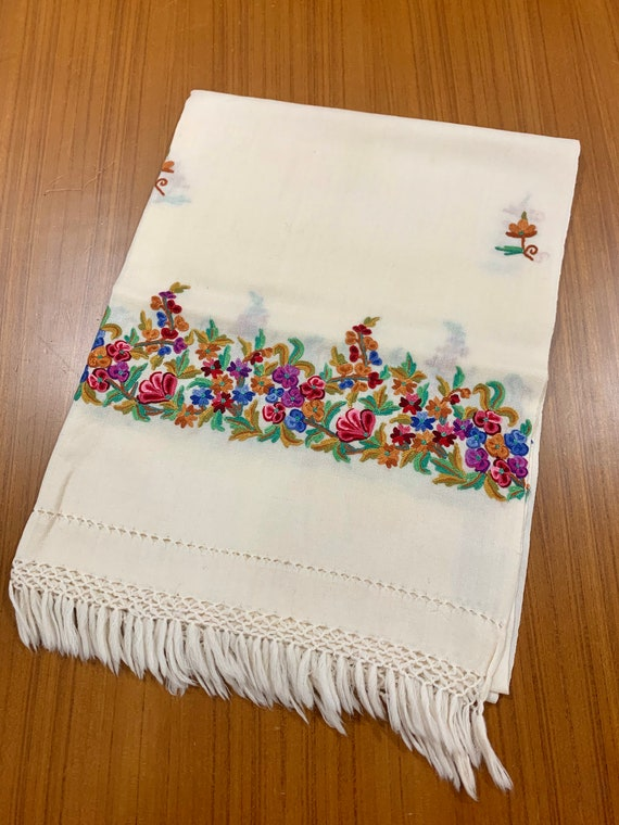 White woollen shawl,Hand Embroidered pure Wool Shawl, cream colour shawl with multicolour floral hand embroidery.Designer pure wool shawl.