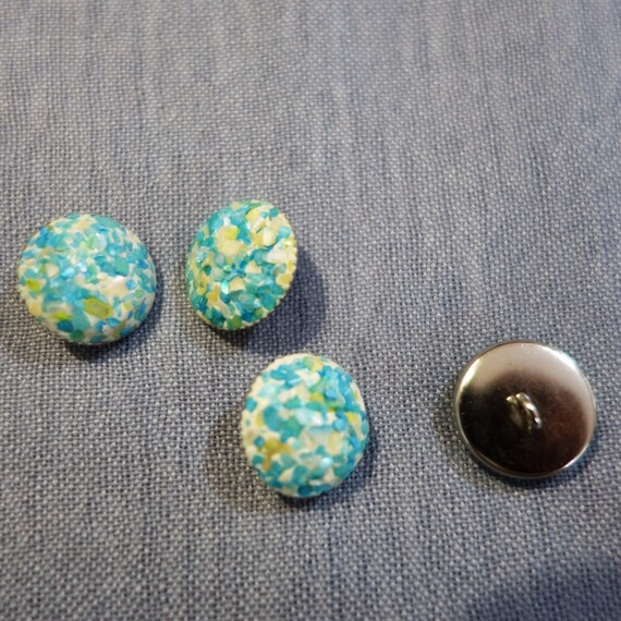 Blue handcrafted buttons, Metallic Buttons Handcrafted with Aqua blue crushed mother of pearl