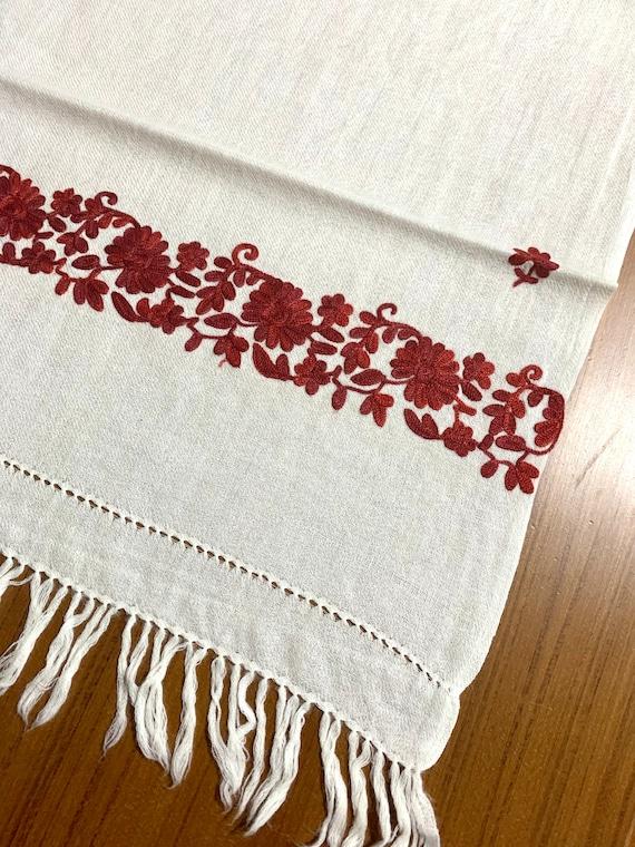 White n Burgundy wool shawl, Hand Embroidered Wool Shawl, cream with burgundy floral embroidered wool shaw. Women fashion shawl.