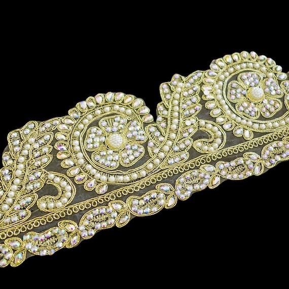 Embellished Golden Trim with Sparkling Rainbow Crystals