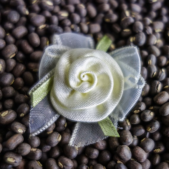 Small Coiled Ribbon Roses with Bows light yellow