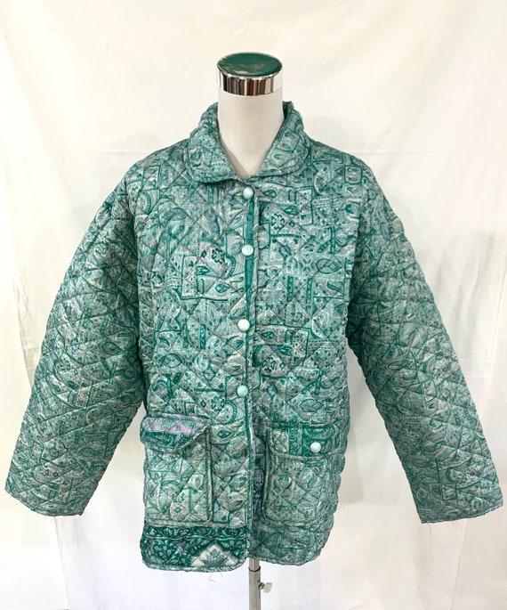 Jade green silk jacket,Large size Silk Jacket, vintage silk Saree Jacket, soft n light Jacket, winter spring Jacket