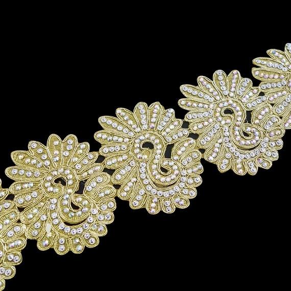 Unique Golden Trim with Crystal Embellishment