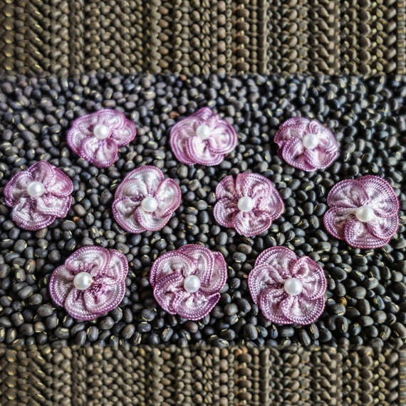 Small Variegated Ruffled Mauve Ribbon Flowers with Pearl Centers
