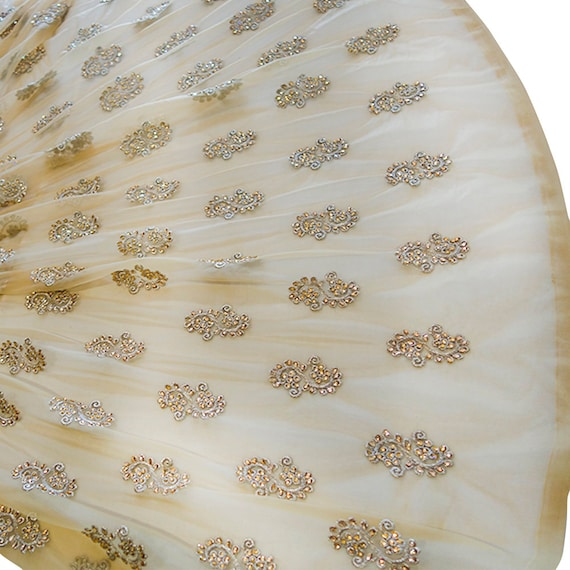 Golden Tulle Fabric - Bridal Tulle Fabric - Tulle Dress - Embroidery Fabric - Tulle Fabric - With Golden Embellishments