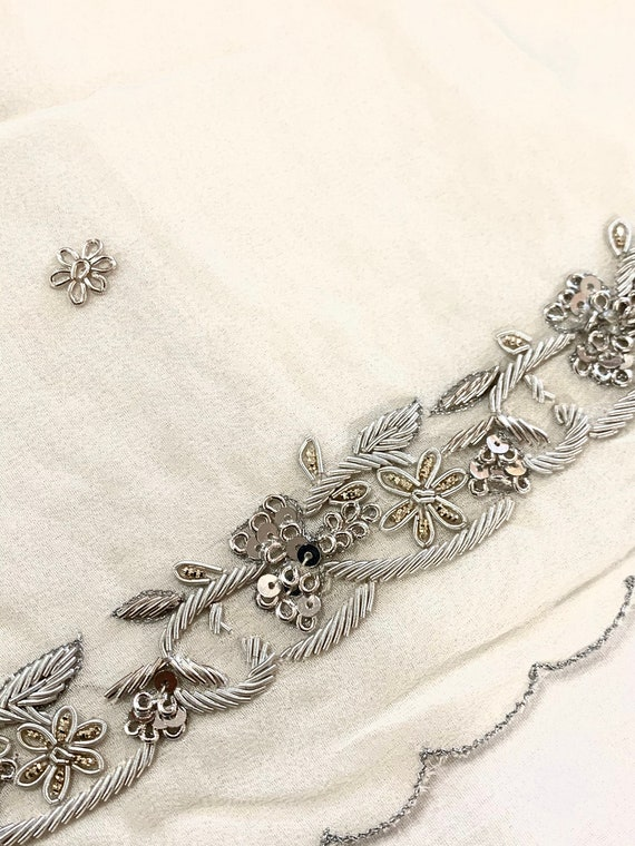 Ivory silk Georgette Sari, hand beaded Silver Zardosi work Sari,Scallop Edged  Traditional Style Indian Dress, Sewing Fabric