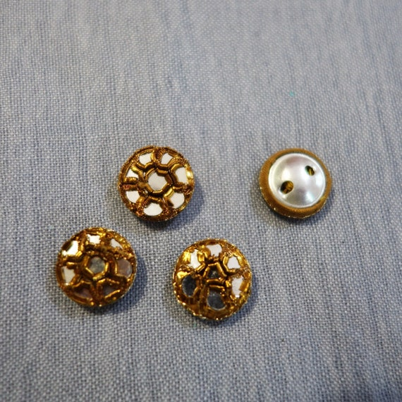 Copper Buttons Hand Embroidered with Metallic Gold Thread & Mirrors