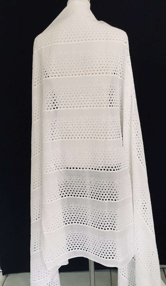 White Cotton Fabric with Multiple Cut Work Borders