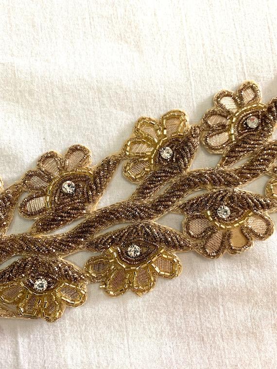 Antique Gold Hand Embroidered Cotton base Trim, Zardosi Thread Floral Crystal Cut Work, Saree Border, Belly Dance Costume, Sewing Trim
