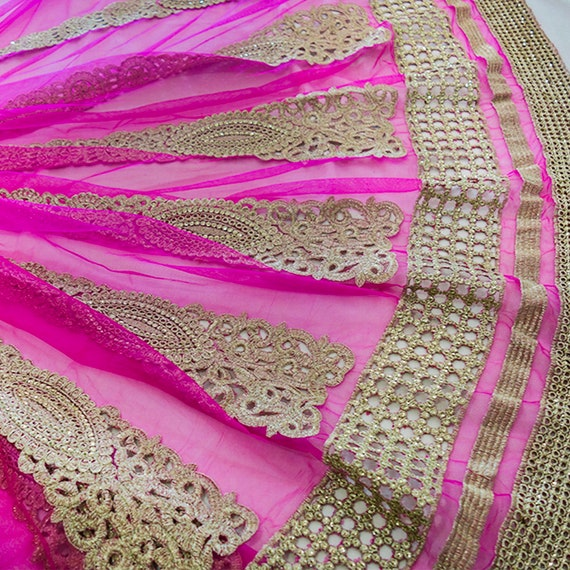 Hot Pink golden Embroidered tulle skirt pattern fabric