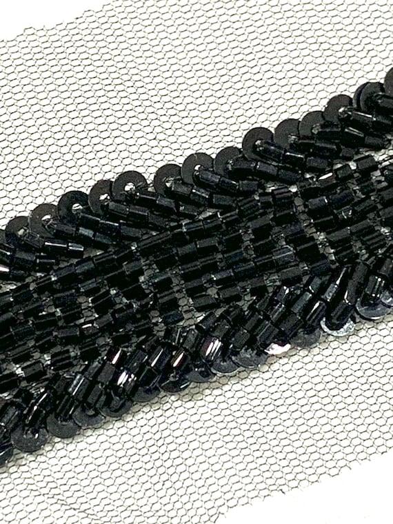 Black beaded trim,Black hand embroidered trim, sash trim,Sari border, Fashion trim, Jewellery trim