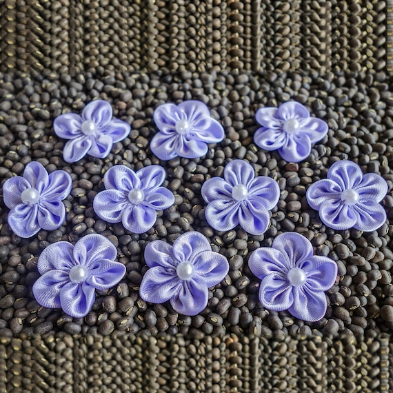 Purple small Shiny Gathered Woven Ribbon Flower with Pearl Centers
