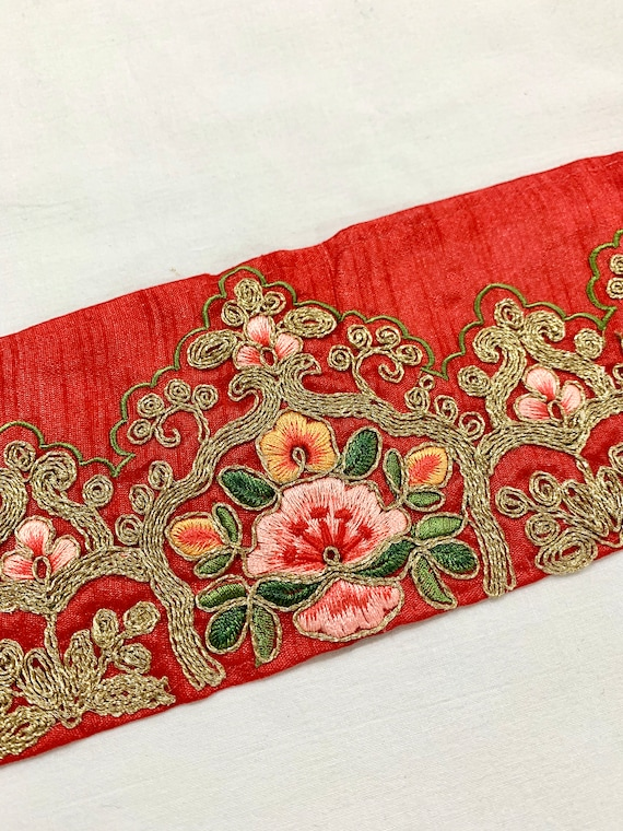 Red Embroidered Raw Silk Trim, Golden Cord Silken Thread Floral Art, Traditional Indian Saree Border, Costume Boho Sewing Trim
