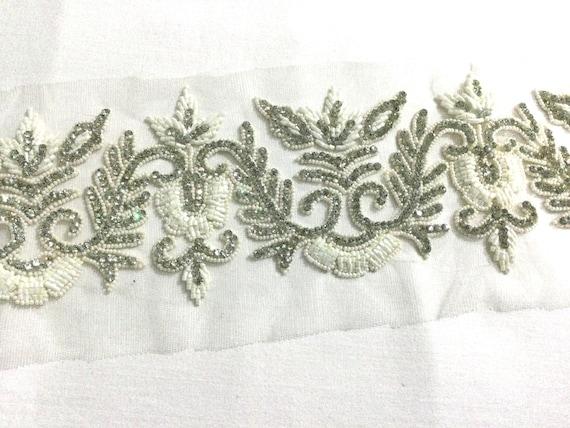 White beaded trim, white n silver trim, Hand beaded trim, Bridal trim, Crystal trim, Tulle trim.