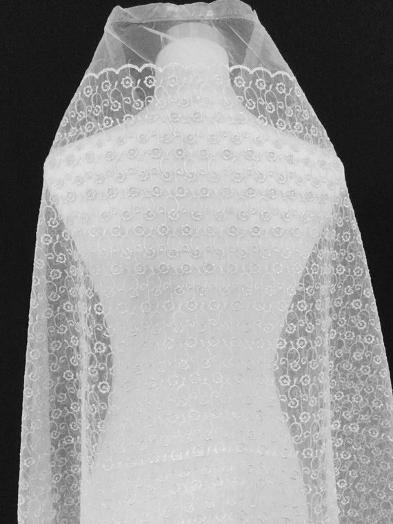 Silver Organza Fabric - With Curved Lacy - Floral Embroidery Fabric - Shimmering Sheer Fabric - With Scallop Edges