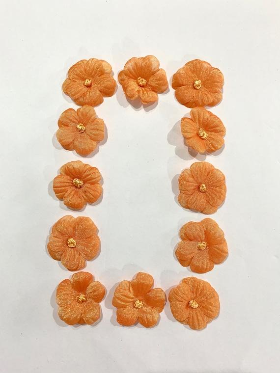 Orange organza Flowers, sheer Glittering orange Flowers, orange layered flowers