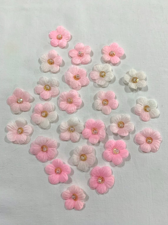 Pink organza Flowers,sheer Glittering   pink Flowers,  pink layered flowers, Pink 2 tone flowers.