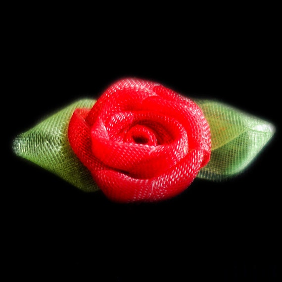 Miniature Sheer Red Coiled Ribbon Rose Buds