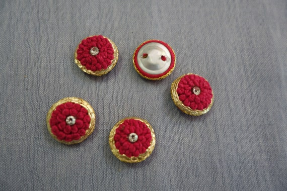Hand Embroidered Hot Pink Gold Buttons with Central Crystal - Hot Pink Button