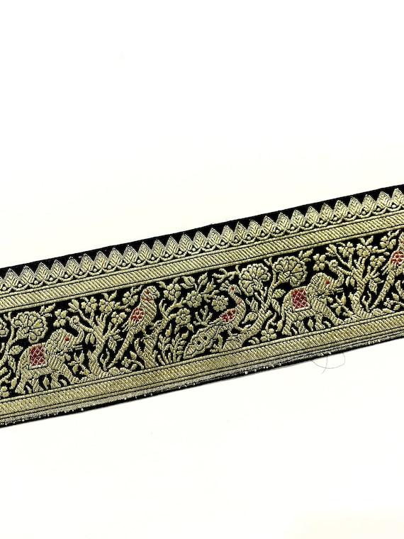 Black n Gold art Silk Trim - Wide Lace Trim  - Black gold Silk Jacquard  Trim