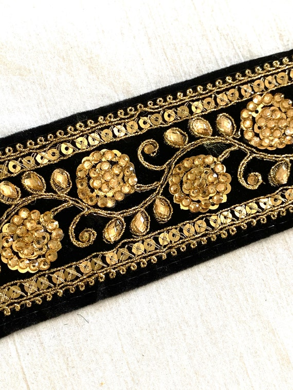 Black Embroidered Suede Trim,Gold Metallic Sequins Rhinestone Thread Traditional Indian Saree Border,Belly Dance Costume,Boho Sewing Trim