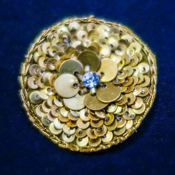 Golden Applique - Wedding Applique - Bridal Applique - Embroidered Applique - Floral Applique - Metallic Golden Thread - Centered Crystal