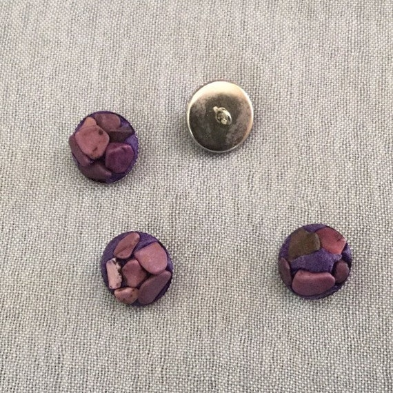Purple handcrafted buttons, Metallic Buttons Handcrafted with Purple Stones